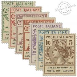 ITALIE CASA NAZIONALE ASSIC.INFORTUNI LAVARO, TIMBRES AVEC SURCHARGE GNR, NEUFS-1944