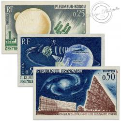 FRANCE N°1360 À 1362 TÉLÉCOMMUNICATIONS SPATIALES, TIMBRES NON DENTELÉS-1962-63