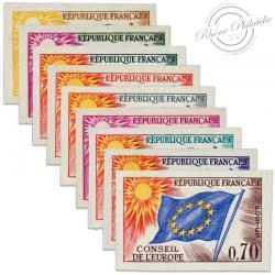FRANCE SERVICE N°27 À 35 TYPE 1958-59 CONSEIL DE L'EUROPE, TIMBRES NON DENTELÉS DE 1963-71