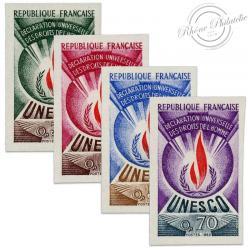FRANCE SERVICE N°39 À 42 U.N.E.S.C.O DUDH, TIMBRES NON DENTELÉS DE 1969-71
