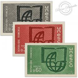 FRANCE SERVICE N°36 À 38 U.N.E.S.C.O DUDH, TIMBRES NON DENTELÉS DE 1969-71