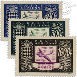 MONACO POSTE AERIENNE N°42 À 44, TIMBRES NEUFS-1949