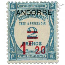 ANDORRE FRANÇAIS TAXE N°13, TIMBRE NEUF*1931-32