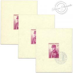 MONACO LOT DE 3 BLOCS N°1, 15E ANNIVERSAIRE DU PRINCE LOUIS II, TIMBRE MIXTE-1938