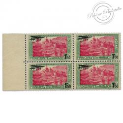 MONACO POSTE AERIENNE N°1, BLOC DE 4 TIMBRES NEUFS- 1933