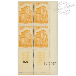 MONACO COIN DATÉ N°488 VUES DE LA PRINCIPAUTÉ, BLOC DE 4 TIMBRES NEUFS**LUXE-1957