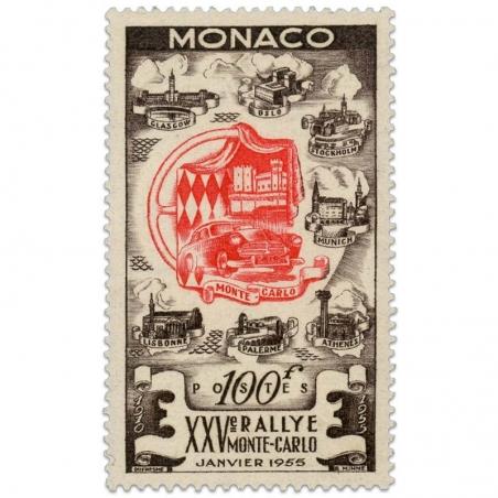 MONACO N°420, 25e RALLYE AUTOMOBILE DE MONTE-CARLO, TIMBRE NEUF DE 1955