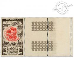 MONACO N°420, 25e RALLYE AUTOMOBILE DE MONTE-CARLO, TIMBRE BORD DE FEUILLE NEUF-1955