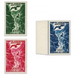 ANDORRE FRANÇAIS PA N°2 À 4, PAYSAGE, TIMBRES NEUFS DE 1955-57