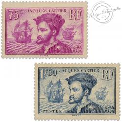FRANCE N°296 ET 297,  JACQUES CARTIER, TIMBRES NEUFS **/* 1934