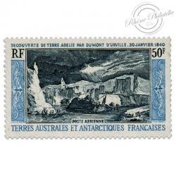 TAAF POSTE AERIENNE N°8 DÉCOUVERTE TERRE ADÉLIE, TIMBRE NEUF-1965