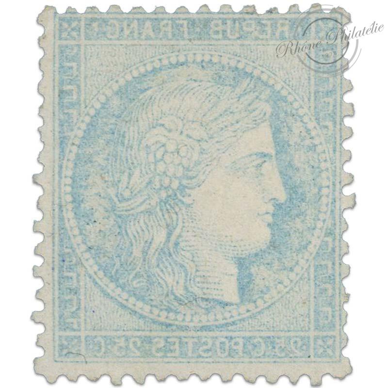 FRANCE N°60A TYPE CERES AVEC IMPRESSION VERSO, TIMBRE OBLITERÉ* DE 1871