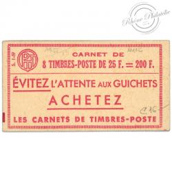 FRANCE CARNET 1011C-C 1 TYPE MARIANNE DE MULLER, 8 TIMBRES POSTE-1955-59