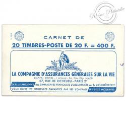FRANCE CARNET 1011B-C 10 TYPE MARIANNE DE MULLER, TIMBRES POSTE EXCEL GRAMMONT-1955-59