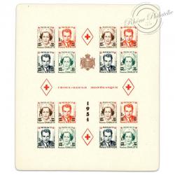 MONACO BLOC N°4B CROIX-ROUGE MONEGASQUE SURCHARGÉ NON DENTELÉ, TIMBRES NEUFS DE 1951