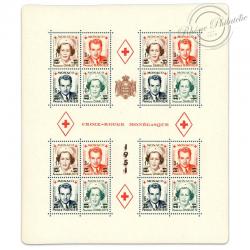 MONACO BLOC N°4A CROIX-ROUGE MONÉGASQUE DE 1949 SURCHARGÉ, TIMBRES NEUF DE 1951
