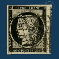 FRANCE N°3 TYPE CÉRÈS, TIMBRE OBLITÉRATION GRILLE DE 1849