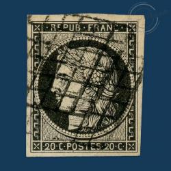 FRANCE N°3 TYPE CÉRÈS, TIMBRE OBLITÉRATION GRILLE, SIGNÉ DE 1849