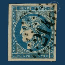 FRANCE N°45A TYPE CÉRÈS REPORT 1, TIMBRE OBLITÉRÉ GROS CHIFFRES, SIGNÉ-1870