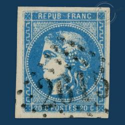 FRANCE N°45A TYPE CÉRÈS REPORT 1, TIMBRE OBLITÉRÉ GROS CHIFFRES-1870