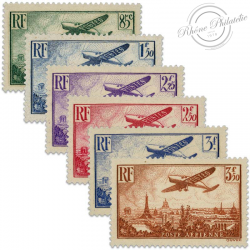 FRANCE PA N°8 À 13 AVION SURVOLANT PARIS, TIMBRES NEUFS DE 1936