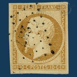 FRANCE N°9 TYPE NAPOLEON 10C BISTRE JAUNE, TIMBRE OBLITERE, DOUBLE SIGNATURE