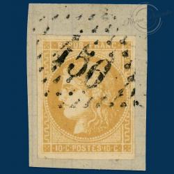 FRANCE N°43B TYPE CÉRÈS, TIMBRE OBLITÉRÉ ET SIGNÉ SUR FRAGMENT-1871