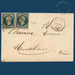 FRANCE N°10 TYPE NAPOLÉON 25c BLEU, 2 TIMBRES OBLITÉRÉS, SIGNÉS SUR ENVELOPPE-1852