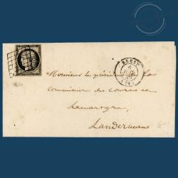 FRANCE N°3 TYPE CÉRÈS, TIMBRE OBLITÉRÉ ET SIGNÉ SUR ENVELOPPE-1849