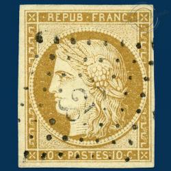 FRANCE N°1 TYPE CÉRÈS BISTRE-JAUNE, TIMBRE OBLITÉRÉ, SIGNÉ-1850