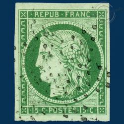 FRANCE N°2 TYPE CÉRÈS, TIMBRE OBLITÉRÉ AVEC CERTIFICAT-1850