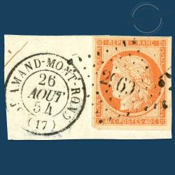 FRANCE N°5 TYPE CÉRÈS ORANGE, TIMBRE OBLITÉRÉ, SIGNÉ SUR FRAGMENT-1850