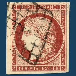 FRANCE N°6 TYPE CERES 1FR CARMIN, TIMBRE OBLITÉRÉ, SIGNÉ BRUN-1849