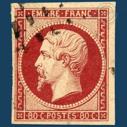 FRANCE N°17A TYPE NAPOLÉON, TIMBRE OBLITÉRÉ, SIGNÉ CALVES-1854
