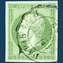FRANCE N°12 TYPE NAPOLÉON, TIMBRE OBLITÉRÉ ET SIGNÉ-1854