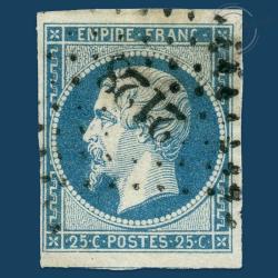 FRANCE N°15 TYPE NAPOLÉON, BEAU TIMBRE OBLITÉRÉ ET SIGNÉ-1853
