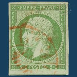 FRANCE N°12 TYPE NAPOLÉON, TIMBRE OBLITÉRÉ ET SIGNÉ DE 1854