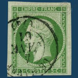 FRANCE N°12 TYPE NAPOLÉON, TIMBRE OBLITÉRÉ, SIGNÉ DE 1854