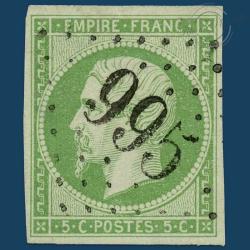 FRANCE N°12 TYPE NAPOLÉON, TIMBRE OBLITÉRÉ GROS CHIFFRES, SIGNÉ-1854