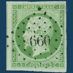 FRANCE N°12 TYPE NAPOLÉON, TIMBRE OBLITÉRÉ PETITS CHIFFRES, SIGNÉ-1854