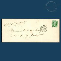 FRANCE N°12 TYPE NAPOLÉON, TIMBRE OBLITÉRÉ SUR LETTRE, SIGNÉ-1854