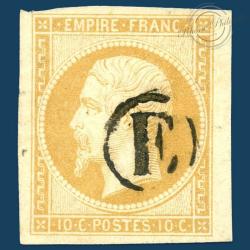 FRANCE N°13A TYPE NAPOLÉON, TIMBRE OBLITÉRÉ ET SIGNÉ-1853