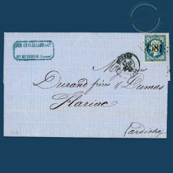 FRANCE N°14A TYPE NAPOLEON, TIMBRE OBLITÉRÉ SUR ENVELOPPE-1854
