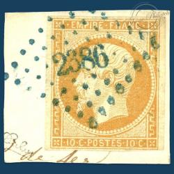 FRANCE N°13A TYPE NAPOLÉON, TIMBRE OBLITÉRÉ, SIGNÉ SUR FRAGMENT-1853