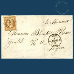 FRANCE N°13A TYPE NAPOLÉON, TIMBRE OBLITÉRÉ SUR ENVELLOPE DE 1853