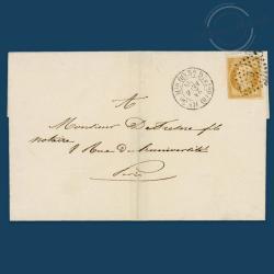 FRANCE N°13A TYPE NAPOLÉON, TIMBRE OBLITÉRÉ SUR PAPIER DE 1853