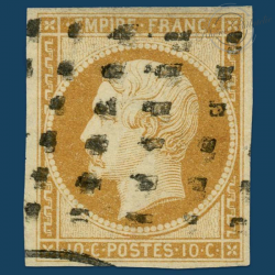 FRANCE N°13A TYPE NAPOLÉON, TIMBRE OBLITÉRÉ ET SIGNÉ EN 1853