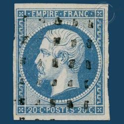 FRANCE N°14A TYPE NAPOLEON, TIMBRE OBLITÉRÉ ET SIGNÉ-1854
