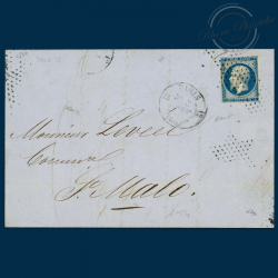 FRANCE N°14A TYPE NAPOLEON, TIMBRE OBLITÉRÉ SUR ENVELOPPE DE 1854