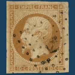 FRANCE N°13B TYPE NAPOLÉON, TIMBRE OBLITÉRÉ ET SIGNÉ-1853-1860